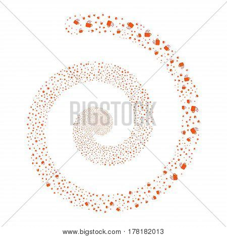 Coffee Cup fireworks whirlpool spiral. Vector illustration style is flat bicolor intensive red and orange scattered symbols. Object twirl made from scattered design elements.