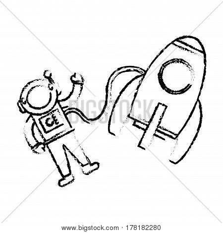 astronaut rocket floating sketch vector illustration eps 10