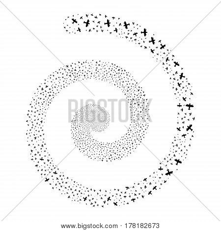 Aircraft fireworks swirl spiral. Vector illustration style is flat black scattered symbols. Object swirling created from random pictographs.