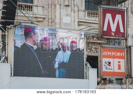 Big Screen Showing His Holiness Pope Francis