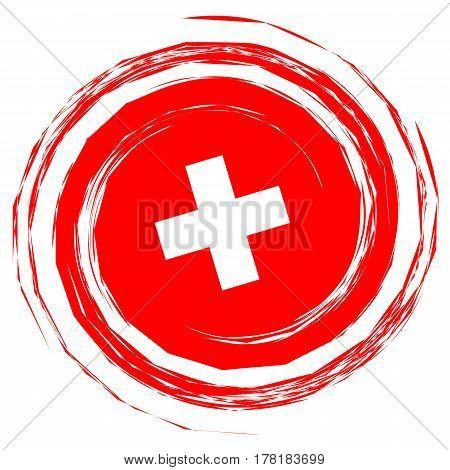 Red Switzerland Flag Whirlpool illustration on white background