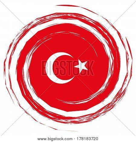 Red Turkey Flag Whirlpool illustration on white background