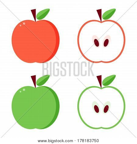 Flat design vector green and red apples, whole and cut in half isolated on white background.