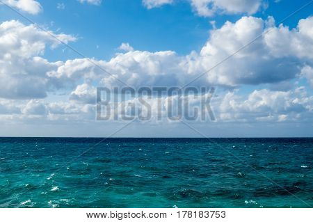 A beautiful ocean view from the beach during a bright sunny day. New Providence, Nassau, Bahamas.