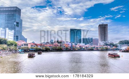 Singapore Landmark: Hdr Of Boat Quay On Singapore River