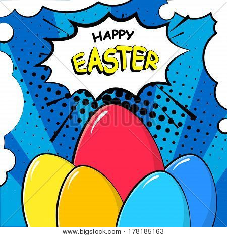 Happy Easter card with egg grass and text cloud. Comics style.