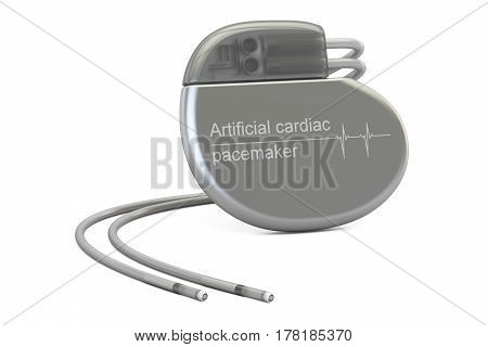Artificial cardiac pacemaker 3D rendering isolated on white background
