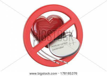 Artificial cardiac pacemaker with forbidden sign 3D rendering isolated on white background