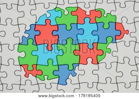 Autism concept brain from colored puzzles 3D rendering