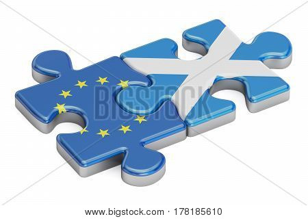 Scotland and European Union puzzles from flags 3D rendering