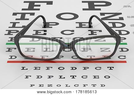 Eye Test Chart and Glasses 3D rendering