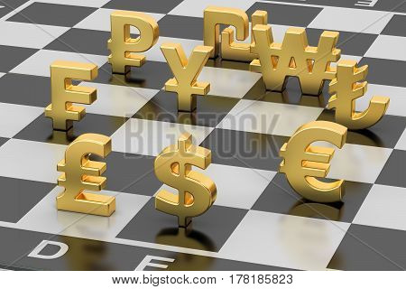money concept currency symbols on chess board. 3D rendering