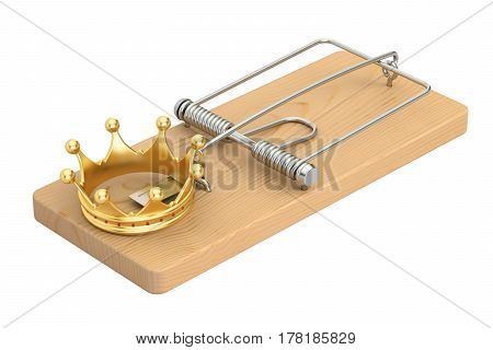 Mousetrap with golden crown 3D rendering isolated on white background
