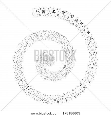 Buzzer fireworks vortex spiral. Vector illustration style is flat black scattered symbols. Object swirl created from scattered pictographs.