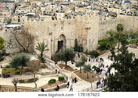 JERUSALEM ISRAEL - MARCH 25 2017: Shechem (Damascus) gate in the old city of Jerusalem. View from above
