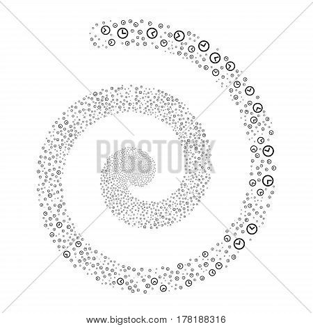 Clock fireworks vortex spiral. Vector illustration style is flat black scattered symbols. Object helix organized from random pictographs.