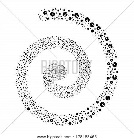 Clock fireworks swirl spiral. Vector illustration style is flat black scattered symbols. Object burst constructed from random pictograms.