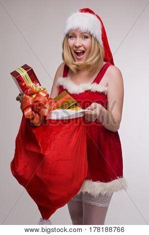 woman in Christmas Mrs Santa Claus costume