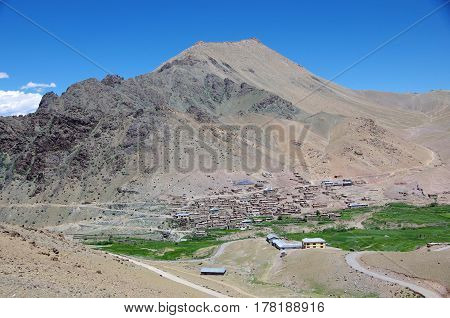 Traditional village near Kargil in Ladakh, India