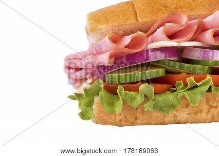 Close up on ham sandwich isolated on white background.