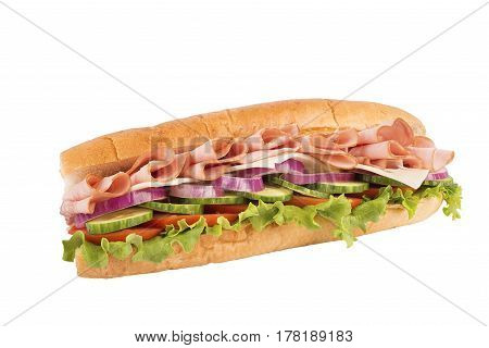 Close up on ham sandwich isolated on white background.