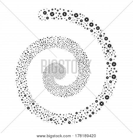Cogwheel fireworks vortex spiral. Vector illustration style is flat black scattered symbols. Object whirl organized from random pictographs.