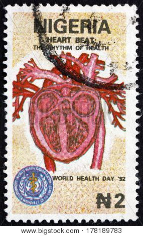 NIGERIA - CIRCA 1992: a stamp printed in Nigeria shows Cross-section of Heart World Health Day circa 1992