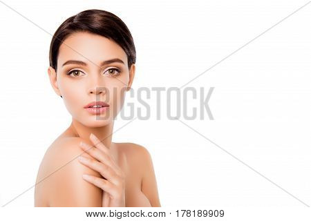 A Shot Of Young Well-looking Girl With Perfect Skin Isolated On White Background Touching Her Should