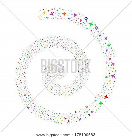 Air Plane fireworks whirl spiral. Vector illustration style is flat bright multicolored scattered symbols. Object whirl made from scattered icons.