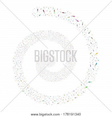 Ampoule fireworks whirl spiral. Vector illustration style is flat bright multicolored scattered symbols. Object burst organized from scattered pictograms.