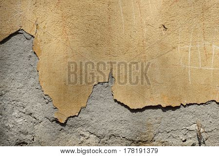 Dirty Old, Grungy Painted Plaster Wall