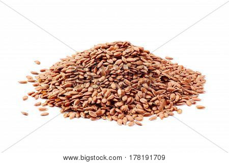Heap of linseeds isolated on white background