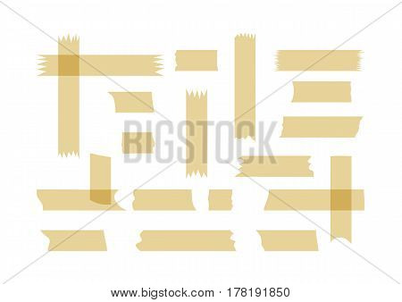 A set of fragments of adhesive tape. Small and large ragged pieces. Twenty horizontal and vertical scraps. Isolated on white background. Vector illustration.