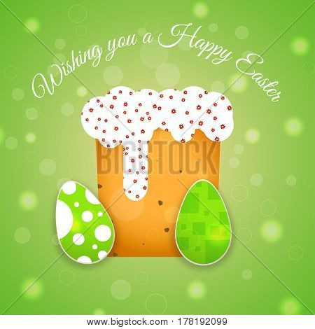 Vector poster of Happy Easter on the gradient green background with Easter Cake eggs with pattern radiance and text cut from paper.