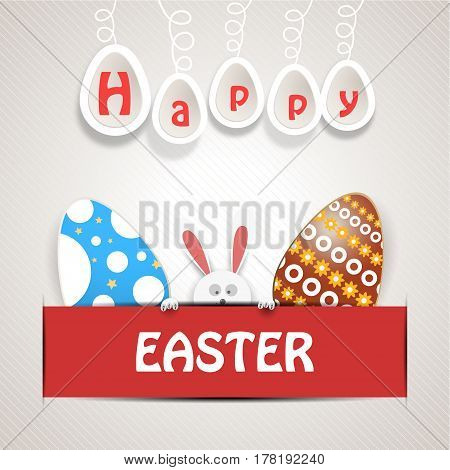 Vector poster of Happy Easter with rabbit head white legs eggs with different colors eggs hanging down on a rope and text insert in red pocket on the gradient gray line background.
