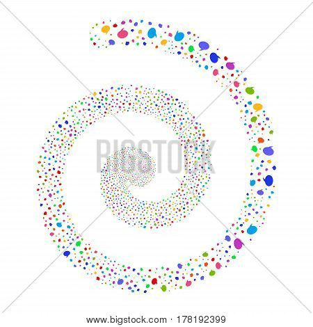 Balloon fireworks swirling spiral. Vector illustration style is flat bright multicolored scattered symbols. Object helix created from random pictograms.