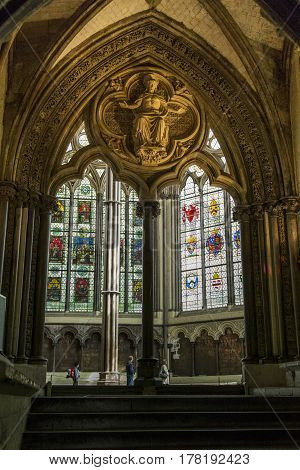 LONDON, GREAT BRITAIN - MAY 12, 2014: This is the chapter hall in Westminster Abbey.