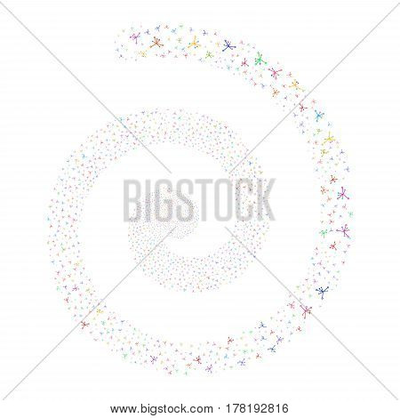 Big Bang fireworks swirl spiral. Vector illustration style is flat bright multicolored scattered symbols. Object twirl organized from random symbols.