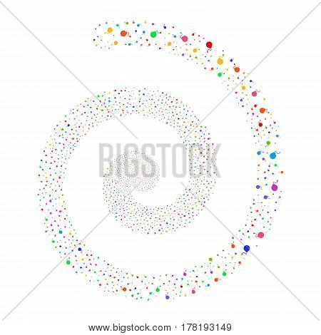 Bomb fireworks swirling spiral. Vector illustration style is flat bright multicolored scattered symbols. Object swirl combined from scattered icons.