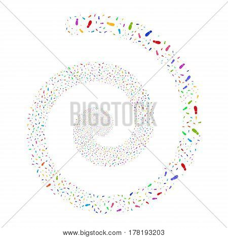 Boot Footprint fireworks burst spiral. Vector illustration style is flat bright multicolored scattered symbols. Object burst done from random symbols.