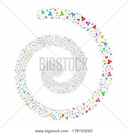 Boss fireworks burst spiral. Vector illustration style is flat bright multicolored scattered symbols. Object whirl done from random symbols.