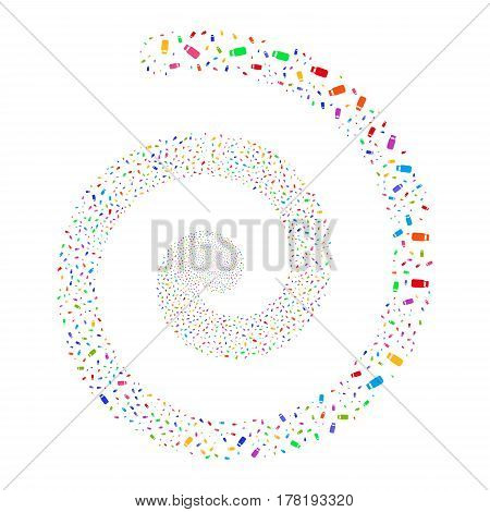 Bottle fireworks vortex spiral. Vector illustration style is flat bright multicolored scattered symbols. Object twirl created from scattered pictographs.