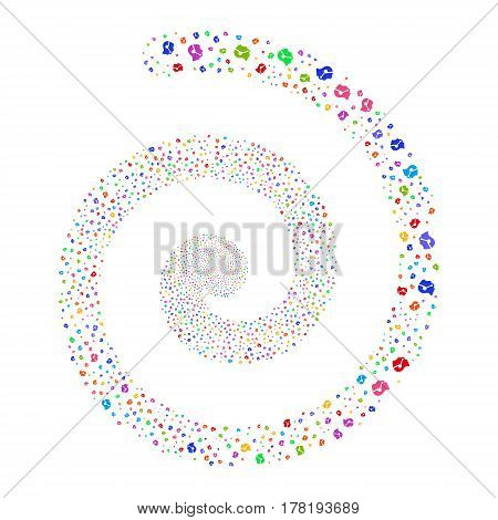 Call Center Operator fireworks burst spiral. Vector illustration style is flat bright multicolored scattered symbols. Object helix made from scattered design elements.