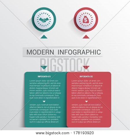 Infographics design template color buttons and numbered 2 plates shapes modern website template.