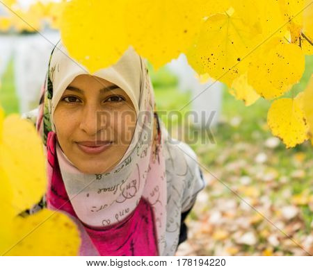 Muslim traditional woman in nature