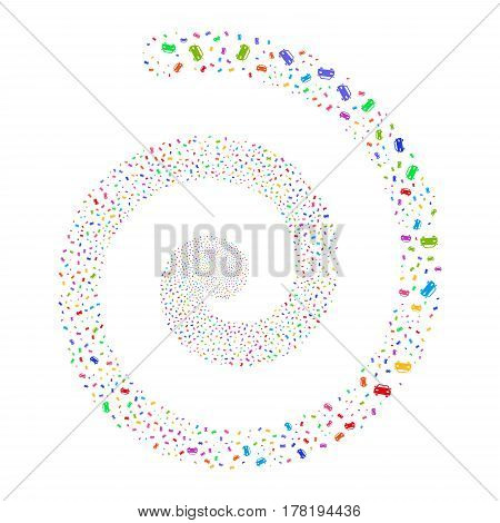 Car fireworks burst spiral. Vector illustration style is flat bright multicolored scattered symbols. Object helix organized from scattered symbols.