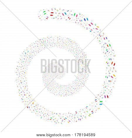 Care Hands fireworks whirlpool spiral. Vector illustration style is flat bright multicolored scattered symbols. Object whirl created from random pictographs.