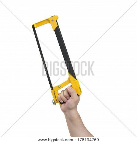 Hand Holding Hacksaw With Clipping Path