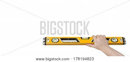 Hand Holding A Spirit Level With Clipping Path Copy Space