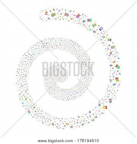 Certificate Seal fireworks swirling spiral. Vector illustration style is flat bright multicolored scattered symbols. Object whirlpool combined from scattered icons.